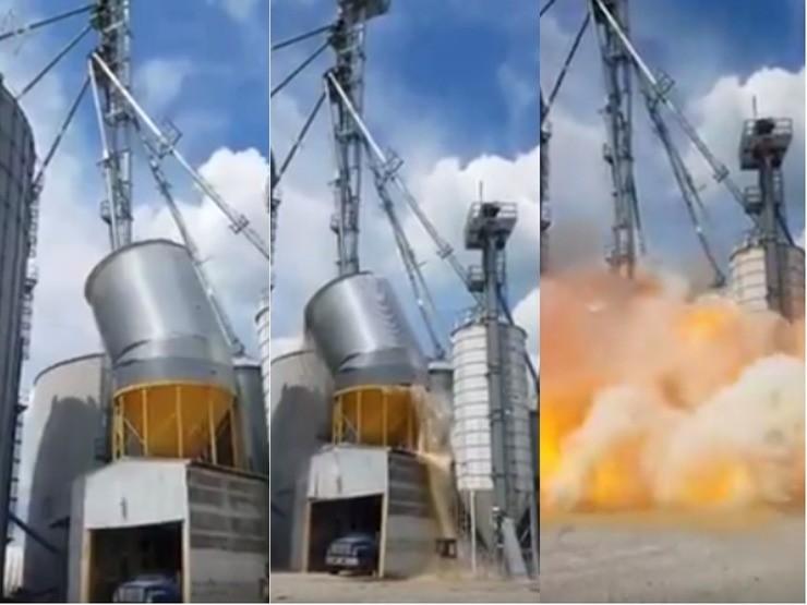 Desabamento e explosão de silo cheio de milho