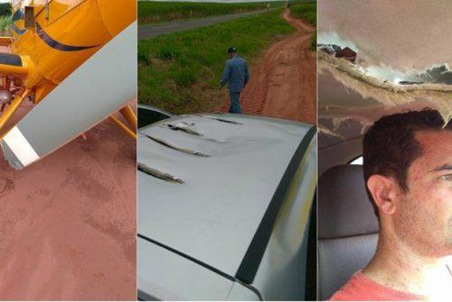 É verdade: avião agrícola atingiu veículo em rasante
