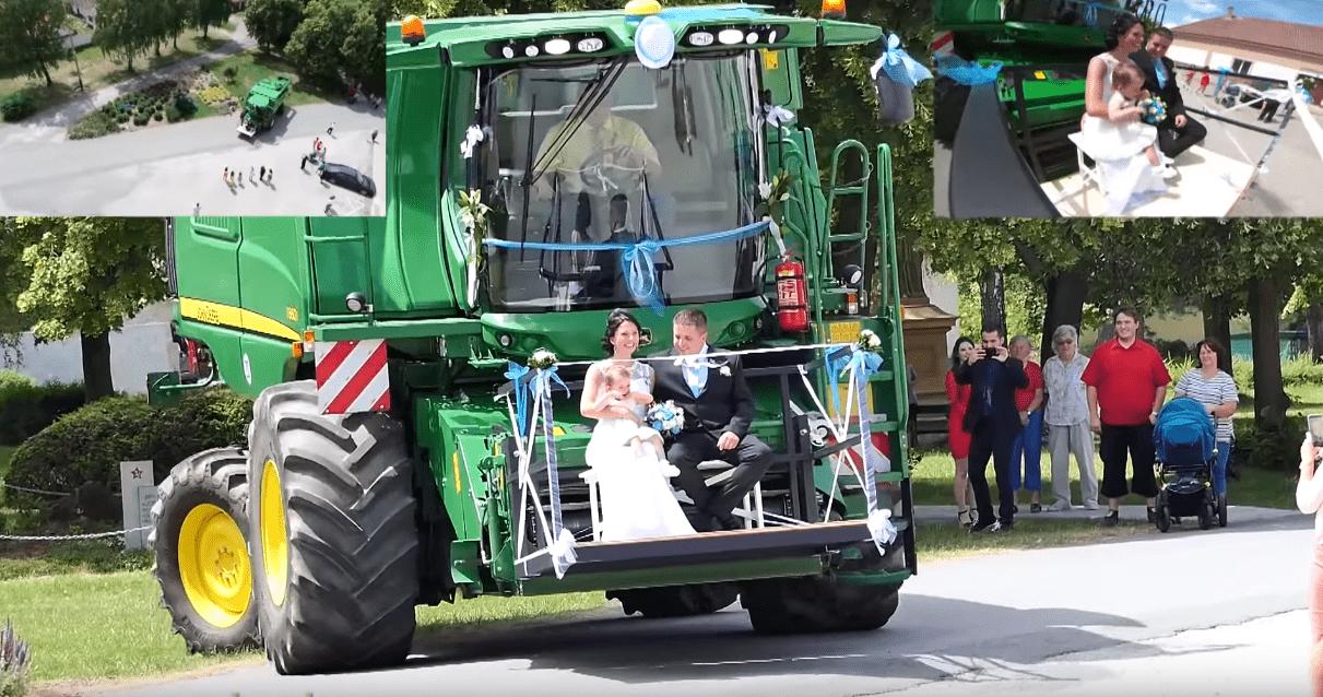 Colheitadeira é atração em casamento na República Tcheca