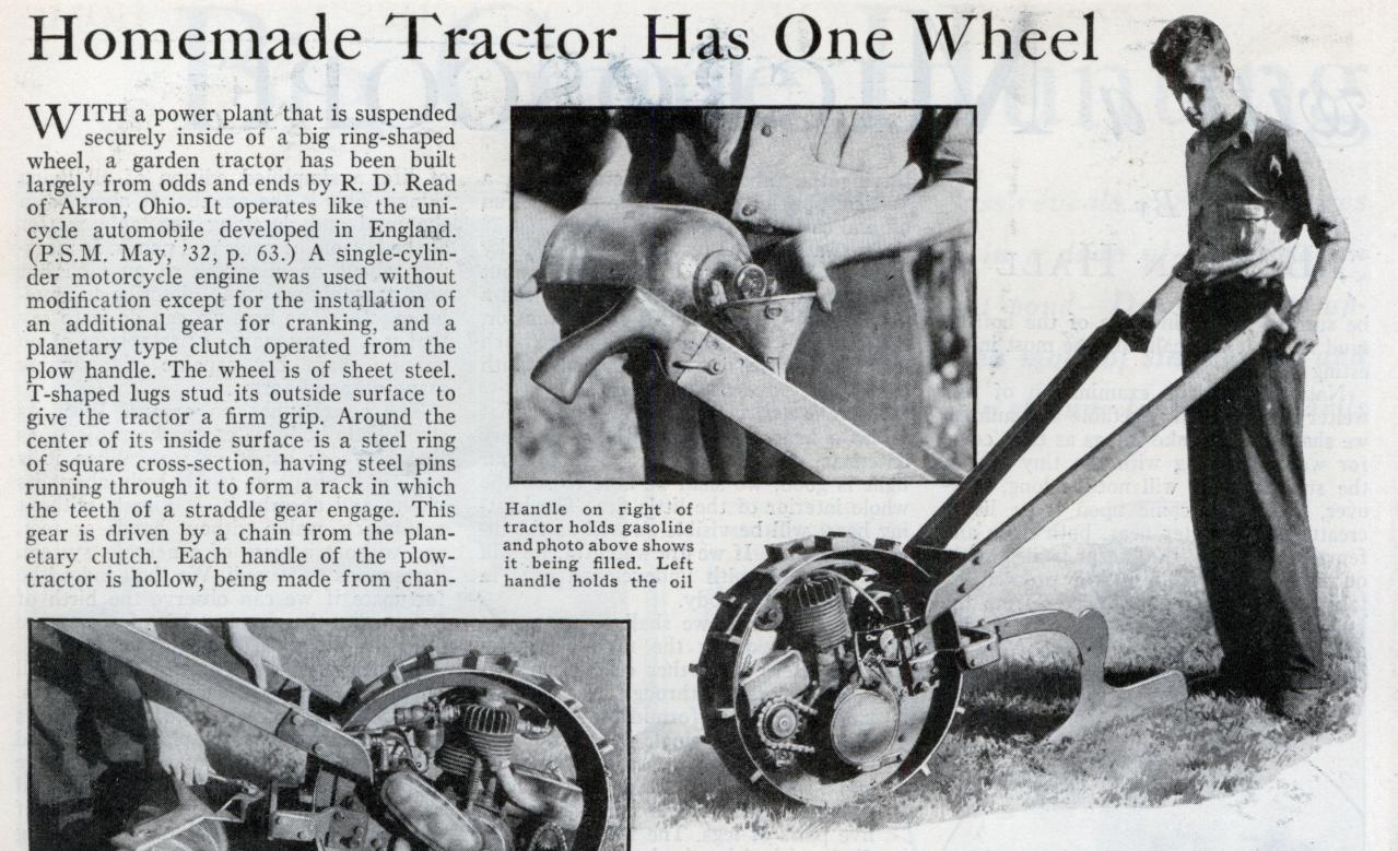 trator de uma roda