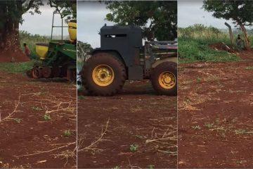 agricultor blinda trator